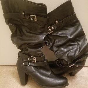 Black Faux Leather Boots with Buckles